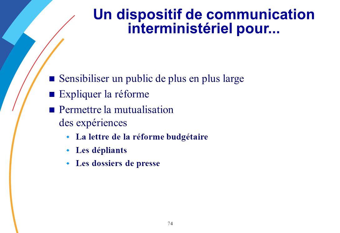 74 Un dispositif de communication interministériel pour...
