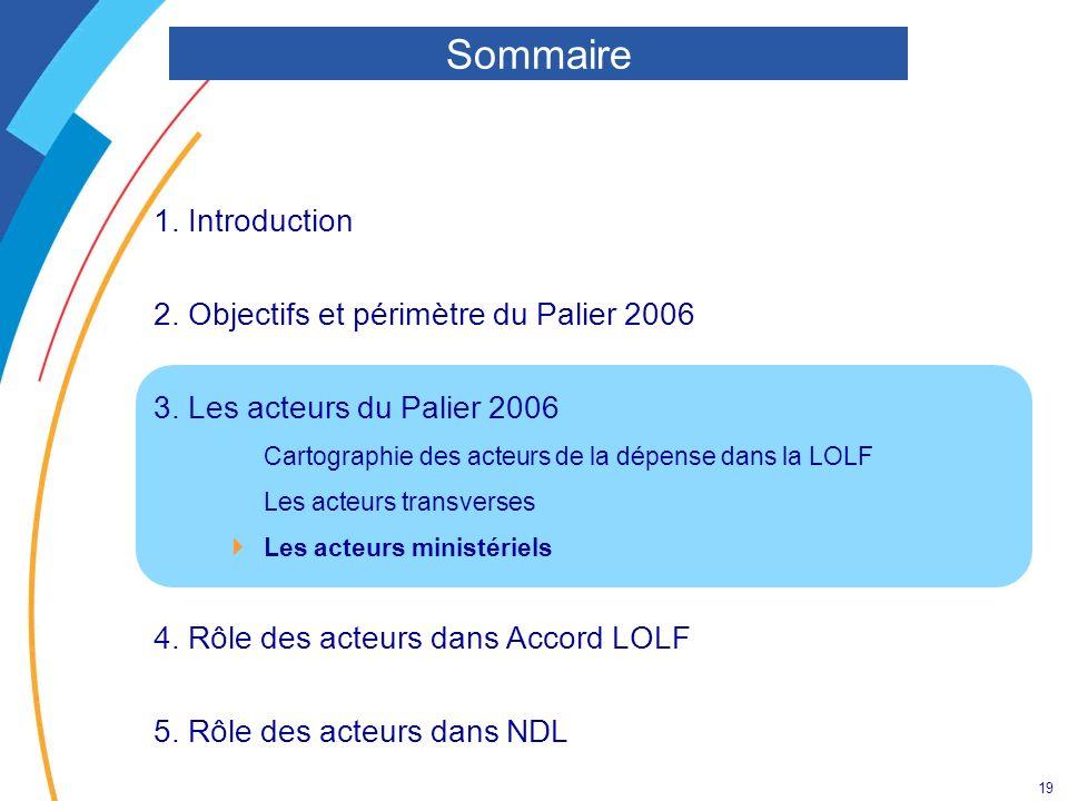 19 1. Introduction 2. Objectifs et périmètre du Palier 2006 3. Les acteurs du Palier 2006 Cartographie des acteurs de la dépense dans la LOLF Les acte