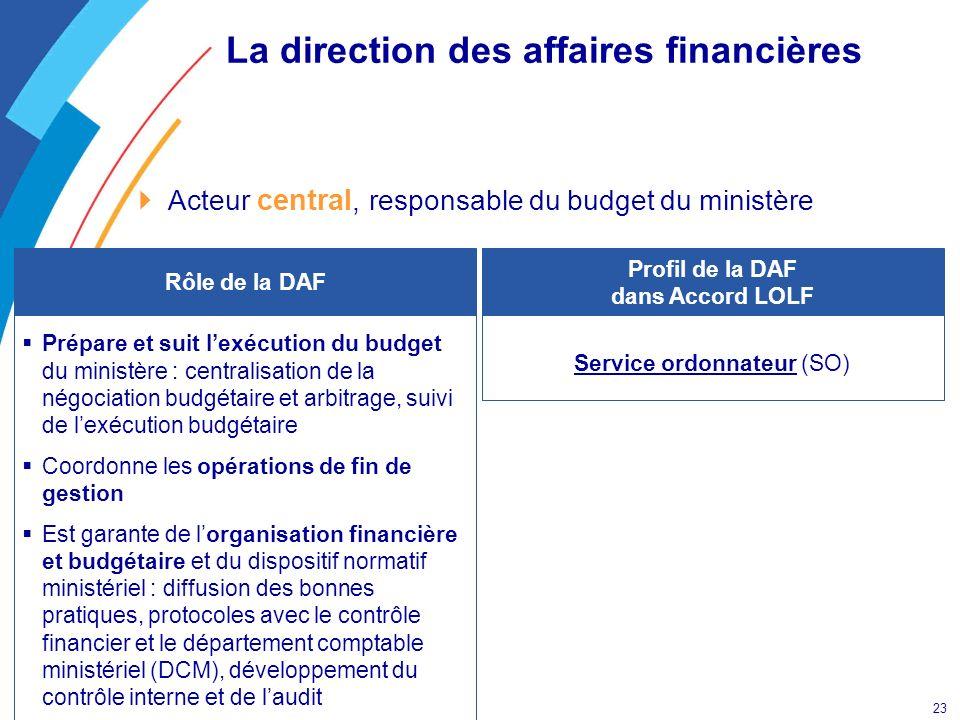 23 La direction des affaires financières Acteur central, responsable du budget du ministère Service ordonnateur (SO) Profil de la DAF dans Accord LOLF