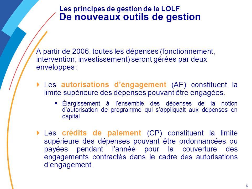 6 Les principes de gestion de la LOLF De nouveaux outils de gestion A partir de 2006, toutes les dépenses (fonctionnement, intervention, investissemen