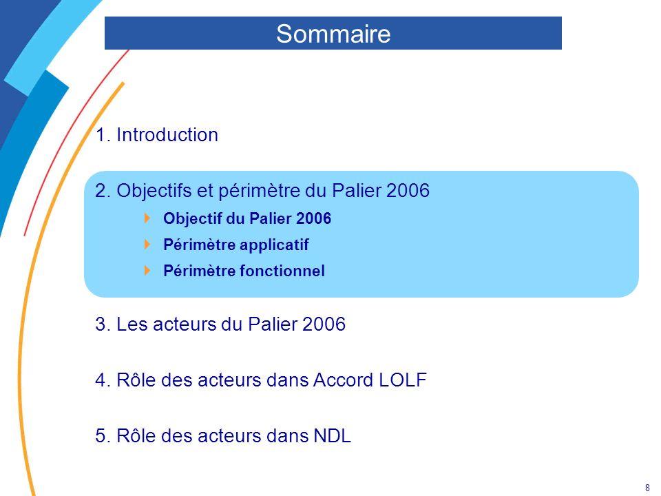 8 1. Introduction 2. Objectifs et périmètre du Palier 2006 Objectif du Palier 2006 Périmètre applicatif Périmètre fonctionnel 3. Les acteurs du Palier
