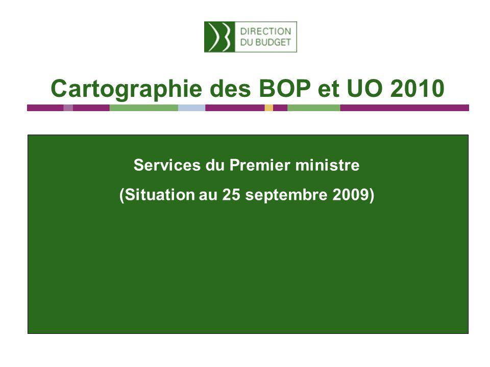 Cartographie des BOP et UO 2010 Services du Premier ministre (Situation au 25 septembre 2009)