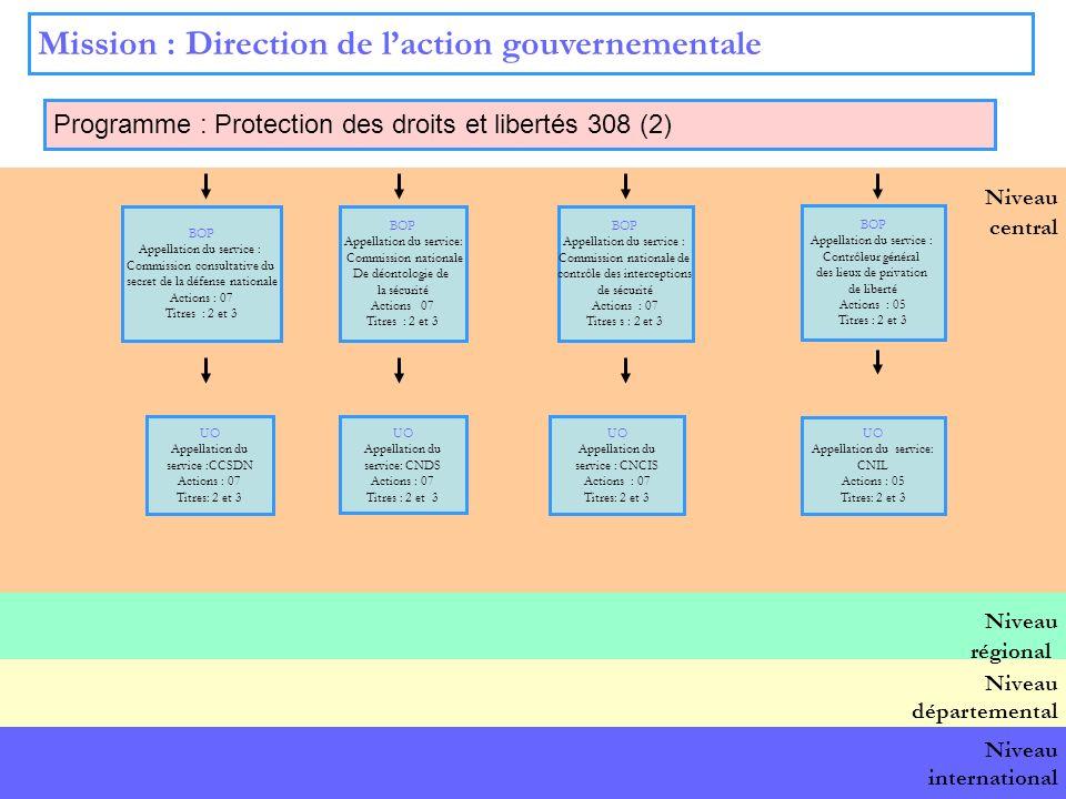 14 Niveau central Mission : Direction de laction gouvernementale Programme : Protection des droits et libertés 308 (2) BOP national BOP Appellation du