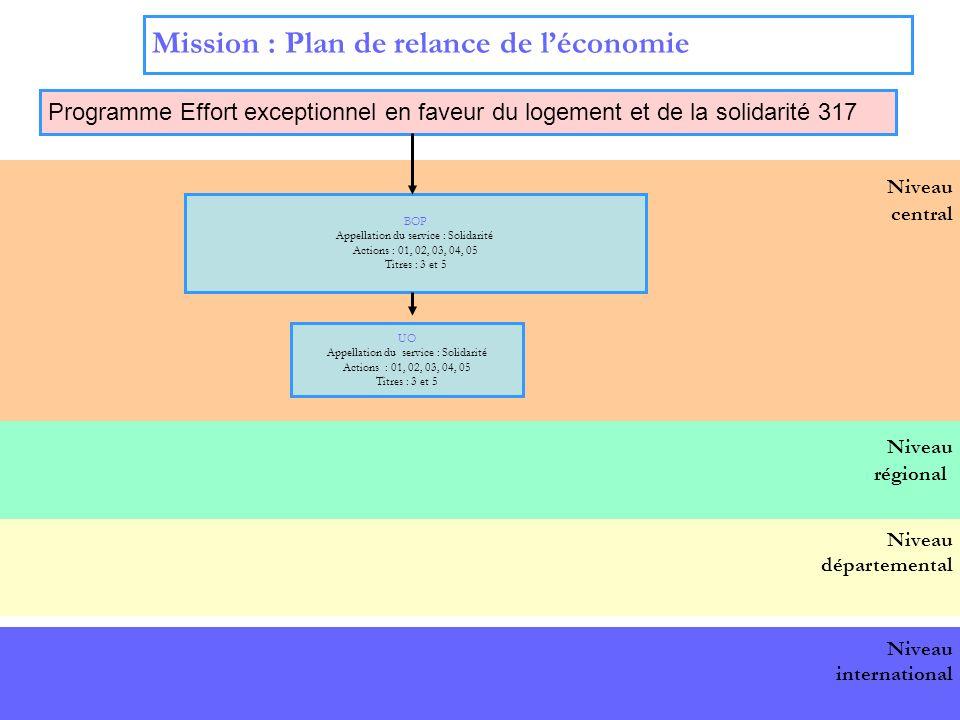 17 Niveau central Mission : Plan de relance de léconomie Programme Effort exceptionnel en faveur du logement et de la solidarité 317 BOP national BOP Appellation du service : Solidarité Actions : 01, 02, 03, 04, 05 Titres : 3 et 5 UO Appellation du service : Solidarité Actions : 01, 02, 03, 04, 05 Titres : 3 et 5 Niveau départemental Niveau international Niveau régional