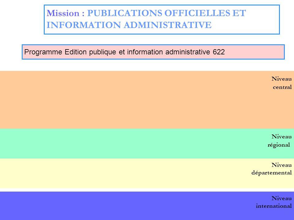 19 Niveau central BOP national Niveau départemental Niveau international Niveau régional Mission : PUBLICATIONS OFFICIELLES ET INFORMATION ADMINISTRATIVE Programme Edition publique et information administrative 622