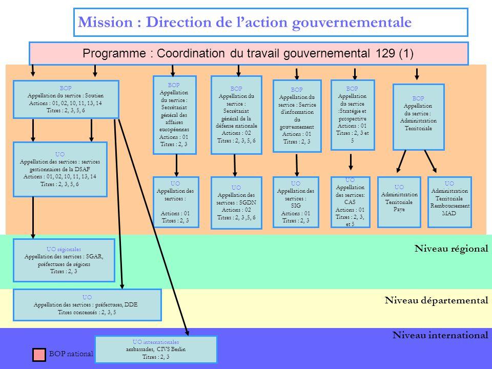 5 Niveau international Niveau central Mission : Direction de laction gouvernementale Programme : Coordination du travail gouvernemental 129 (1) BOP Appellation du service : Secrétariat général de la défense nationale Actions : 02 Titres : 2, 3, 5, 6 BOP Appellation du service : Secrétariat général des affaires européennes Actions : 01 Titres : 2, 3 UO Appellation des services : Actions : 01 Titres : 2, 3 UO Appellation des services : SGDN Actions : 02 Titres : 2, 3,5, 6 Niveau régional BOP national Niveau départemental BOP Appellation du service : Service d information du gouvernement Actions : 01 Titres : 2, 3 UO Appellation des services : SIG Actions : 01 Titres : 2, 3 BOP Appellation du service :Stratégie et prospective Actions : 01 Titres : 2, 3 et 5 UO Appellation des services: CAS Actions : 01 Titres : 2, 3, et 5 BOP Appellation du service : Soutien Actions : 01, 02, 10, 11, 13, 14 Titres : 2, 3, 5, 6 UO Appellation des services : services gestionnaires de la DSAF Actions : 01, 02, 10, 11, 13, 14 Titres : 2, 3, 5, 6 UO régionales Appellation des services : SGAR, préfectures de régions Titres : 2, 3 UO internationales ambassades, CIVS Berlin Titres : 2, 3 UO Appellation des services : préfectures, DDE Titres concernés : 2, 3, 5 BOP Appellation du service : Administration Territoriale UO Administration Territoriale Paye UO Administration Territoriale Remboursement MAD