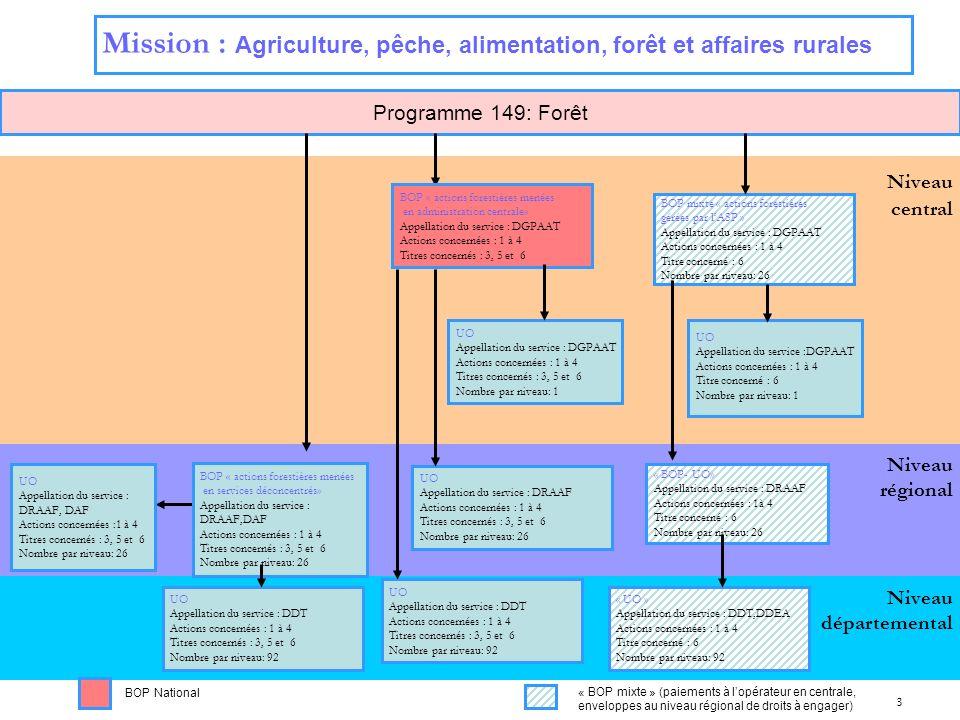 3 Niveau régional Niveau central Programme 149: Forêt Niveau départemental Mission : Agriculture, pêche, alimentation, forêt et affaires rurales BOP «