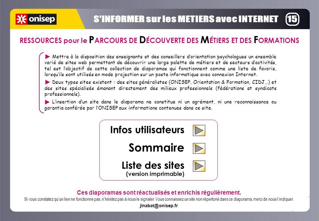 Infos utilisateurs Sommaire Liste des sites (version imprimable) Ces diaporamas sont réactualisés et enrichis régulièrement.