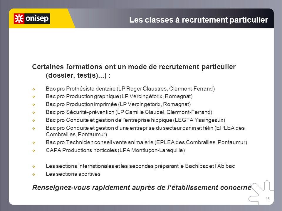 Les classes à recrutement particulier Certaines formations ont un mode de recrutement particulier (dossier, test(s)...) : Bac pro Prothésiste dentaire