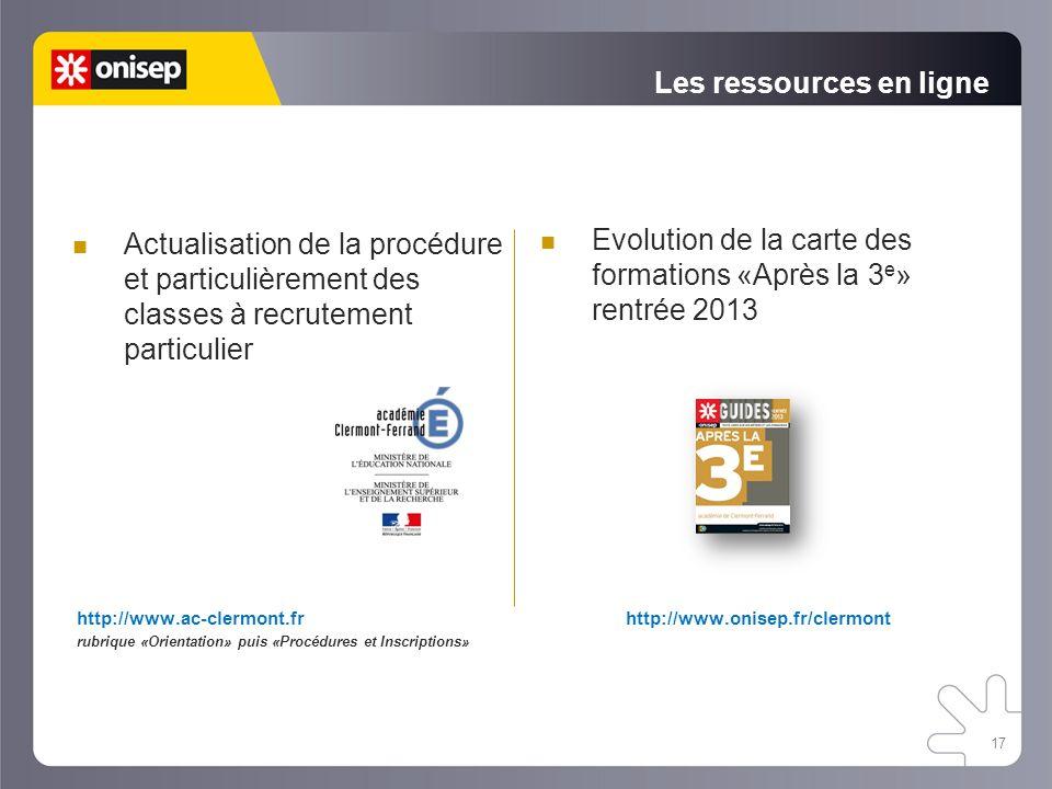 Les ressources en ligne http://www.ac-clermont.fr rubrique «Orientation» puis «Procédures et Inscriptions» Actualisation de la procédure et particuliè