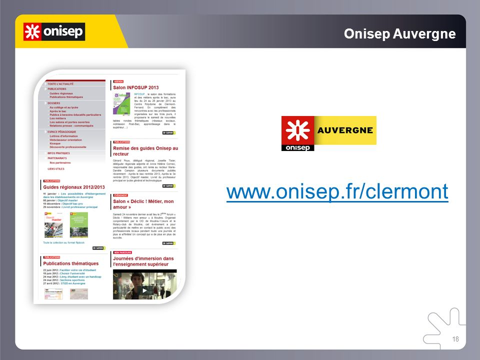Onisep Auvergne www.onisep.fr/clermont 18