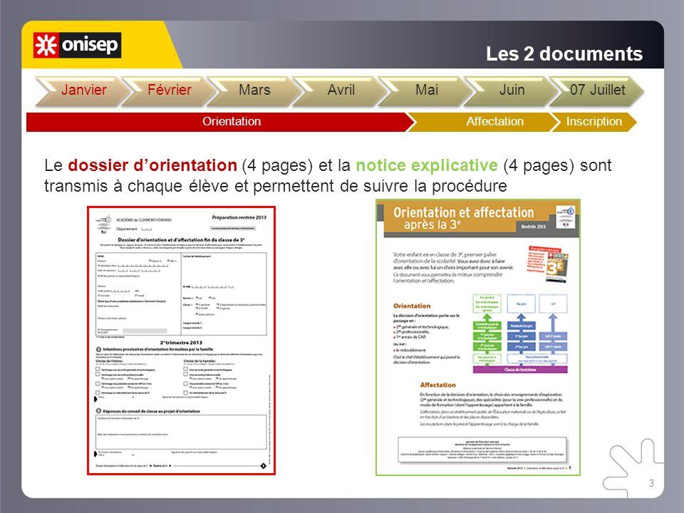 Les 2 documents Le dossier dorientation (4 pages) et la notice explicative (4 pages) sont transmis à chaque élève et permettent de suivre la procédure