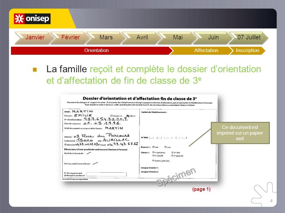 4 La famille reçoit et complète le dossier dorientation et daffectation de fin de classe de 3 e Spécimen Ce document est imprimé sur un papier vert (p