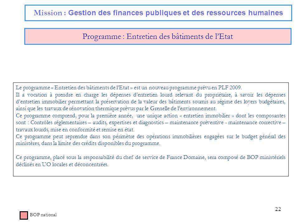 22 Mission : Gestion des finances publiques et des ressources humaines Programme : Entretien des bâtiments de lEtat BOP national Le programme « Entret