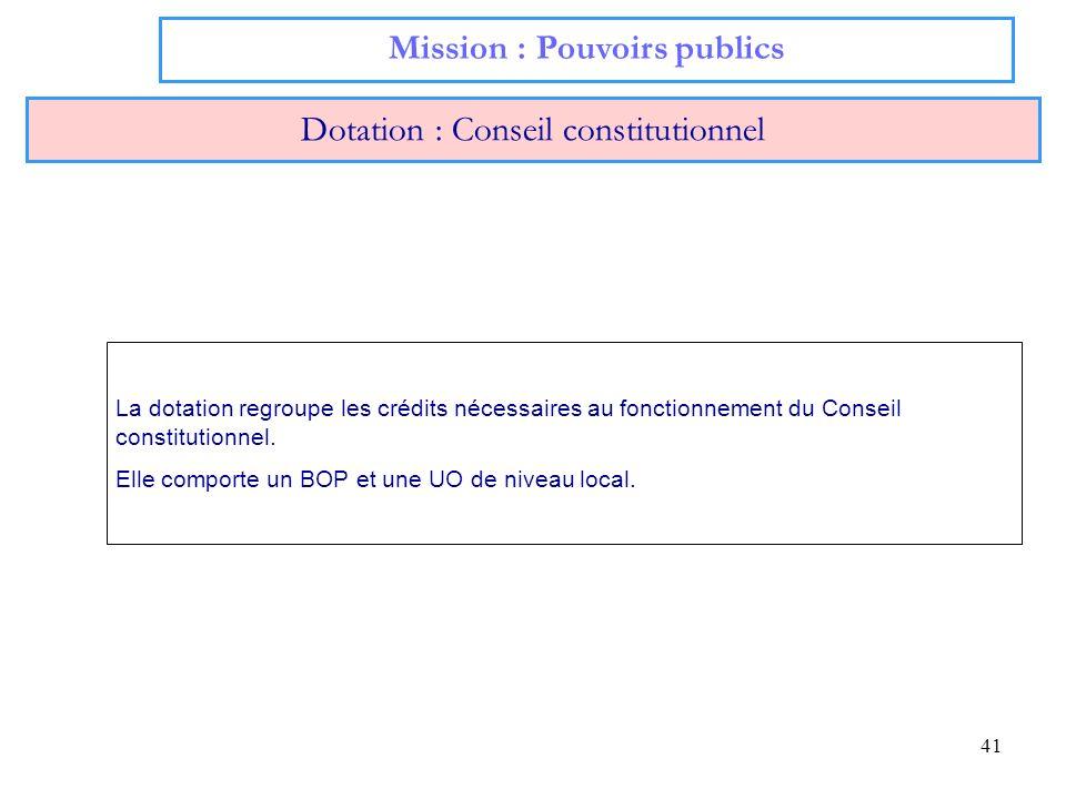 41 Mission : Pouvoirs publics Dotation : Conseil constitutionnel La dotation regroupe les crédits nécessaires au fonctionnement du Conseil constitutio
