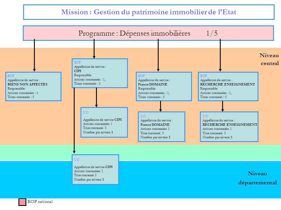 49 Niveau central Mission : Gestion du patrimoine immobilier de lEtat Programme : Dépenses immobilières 1/5 BOP national Niveau départemental BOP Appe