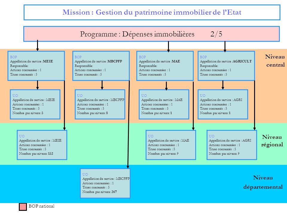 50 Niveau régional Niveau central Mission : Gestion du patrimoine immobilier de lEtat Programme : Dépenses immobilières 2/5 BOP national BOP Appellati