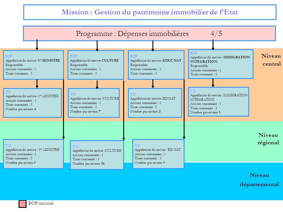 52 Niveau régional Niveau central Mission : Gestion du patrimoine immobilier de lEtat Programme : Dépenses immobilières 4/5 BOP national BOP Appellati