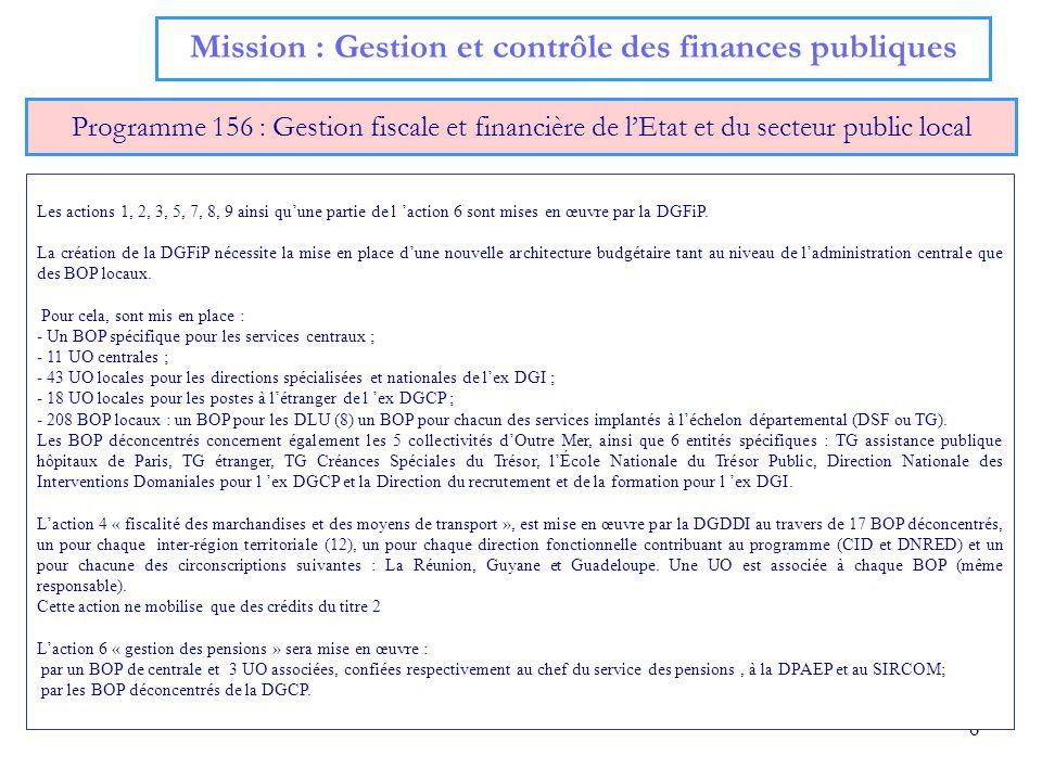 6 Mission : Gestion et contrôle des finances publiques Programme 156 : Gestion fiscale et financière de lEtat et du secteur public local Les actions 1