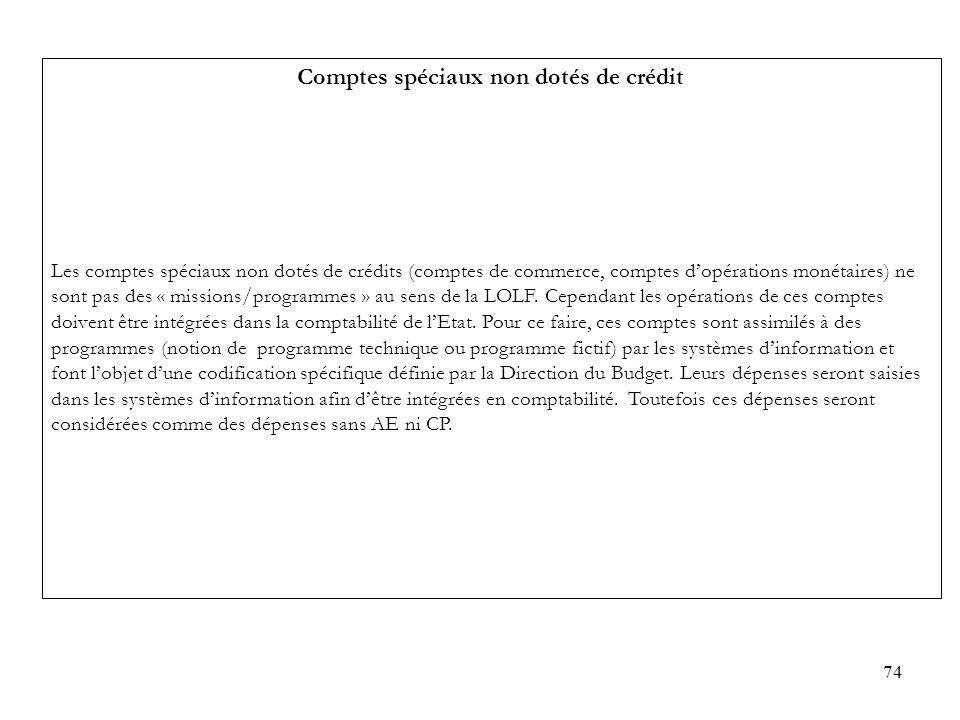 74 Comptes spéciaux non dotés de crédit Les comptes spéciaux non dotés de crédits (comptes de commerce, comptes dopérations monétaires) ne sont pas de