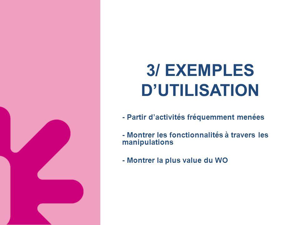 3/ EXEMPLES DUTILISATION - Partir dactivités fréquemment menées - Montrer les fonctionnalités à travers les manipulations - Montrer la plus value du W