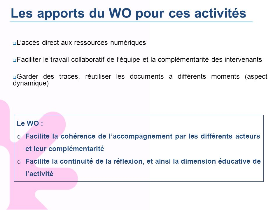 Les apports du WO pour ces activités Laccès direct aux ressources numériques Faciliter le travail collaboratif de léquipe et la complémentarité des in