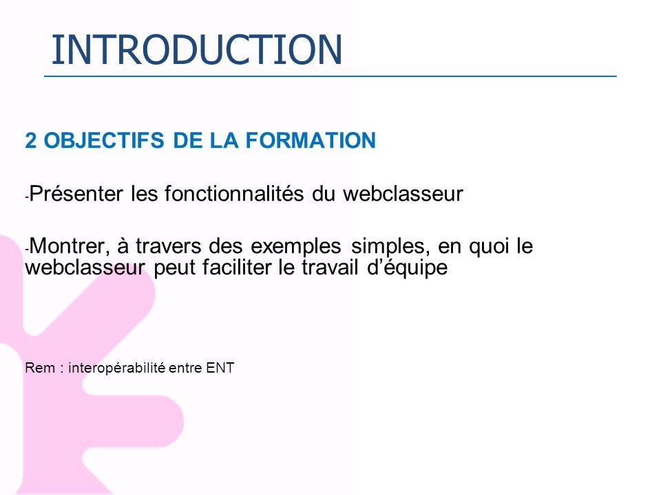 INTRODUCTION 2 OBJECTIFS DE LA FORMATION - Présenter les fonctionnalités du webclasseur - Montrer, à travers des exemples simples, en quoi le webclass