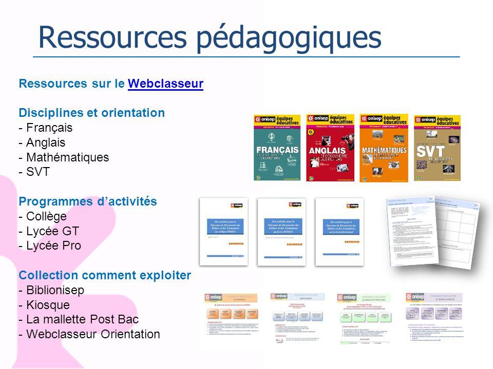 Ressources pédagogiques Ressources sur le WebclasseurWebclasseur Disciplines et orientation - Français - Anglais - Mathématiques - SVT Programmes dact