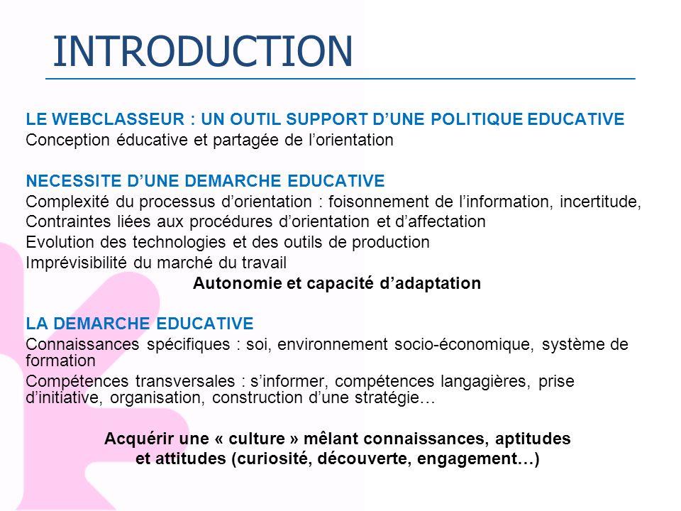 INTRODUCTION LE WEBCLASSEUR : UN OUTIL SUPPORT DUNE POLITIQUE EDUCATIVE Conception éducative et partagée de lorientation NECESSITE DUNE DEMARCHE EDUCA