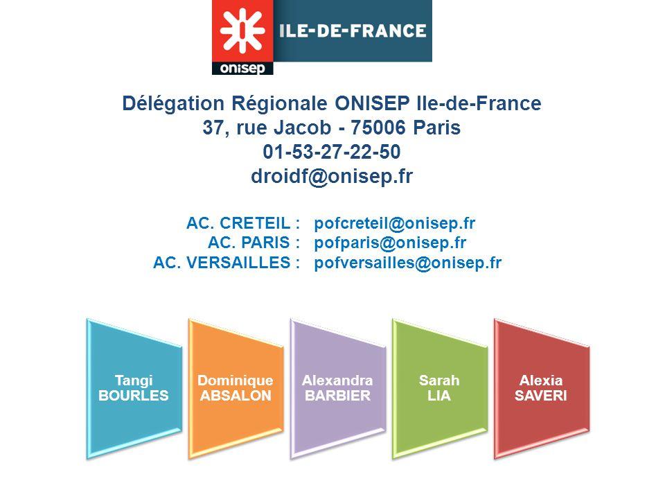 Délégation Régionale ONISEP Ile-de-France 37, rue Jacob - 75006 Paris 01-53-27-22-50 droidf@onisep.fr AC. CRETEIL : AC. PARIS : AC. VERSAILLES : pofcr