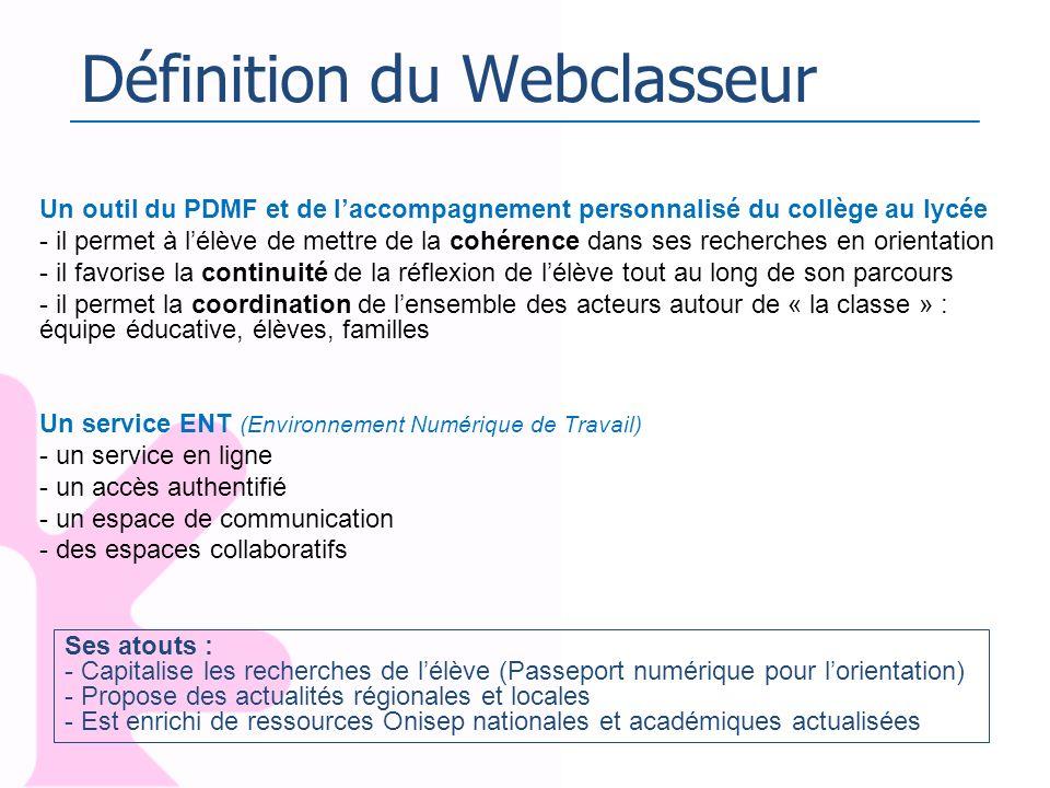 Définition du Webclasseur Un outil du PDMF et de laccompagnement personnalisé du collège au lycée - il permet à lélève de mettre de la cohérence dans
