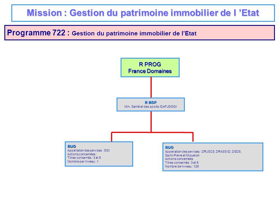 Mission : Gestion du patrimoine immobilier de l Etat Programme 722 : Gestion du patrimoine immobilier de l'Etat R PROG France Domaines RUO Appellation