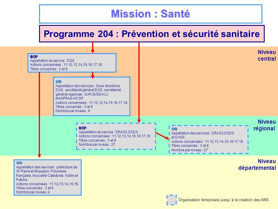 Niveau régional Niveau départemental Niveau central Mission : Santé Programme 204 : Prévention et sécurité sanitaire BOP Appellation du service : DGS