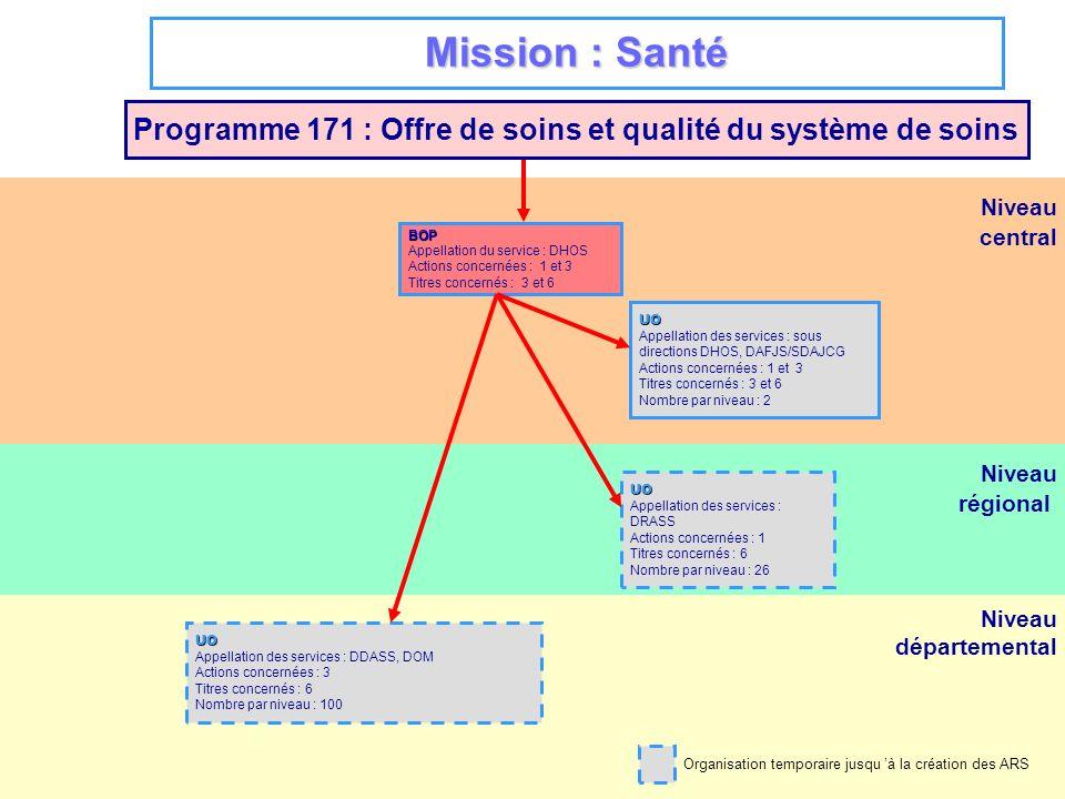 Niveau régional Niveau départemental Niveau central Mission : Santé Programme 171 : Offre de soins et qualité du système de soins BOP Appellation du s