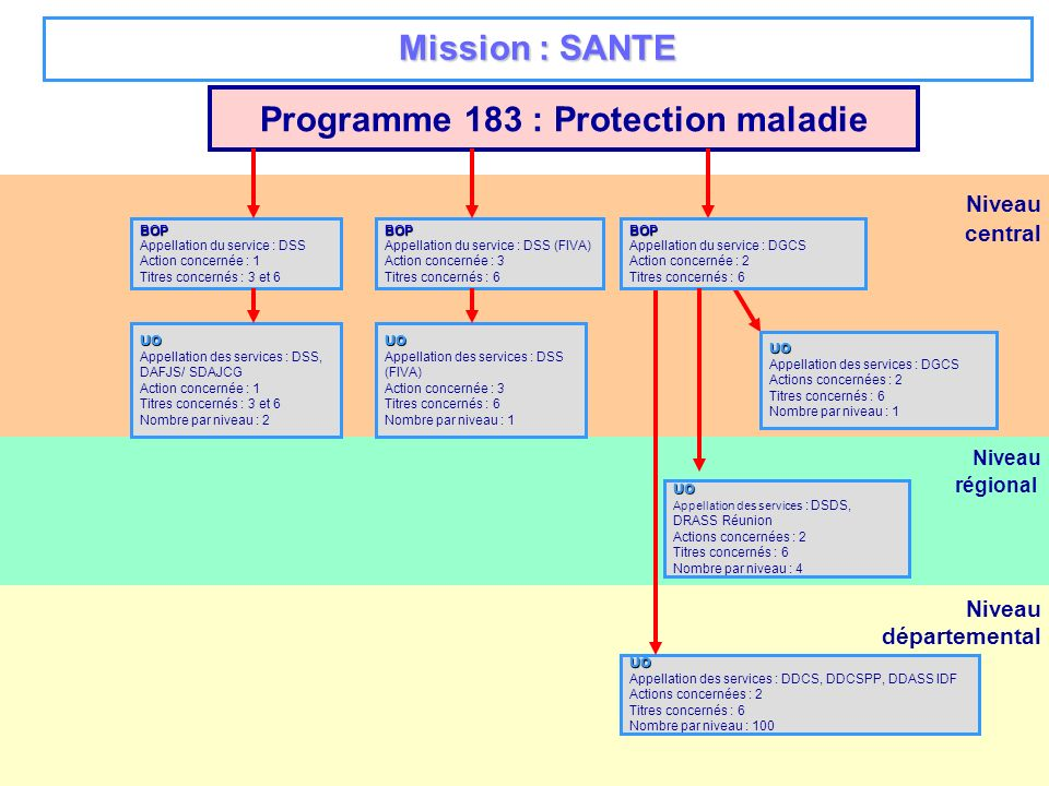 Niveau régional ou COM Niveau départemental Niveau central Programme 219 : Sport BOP Appellation du service : DRJSCS, DRDJS IDF Actions concernés : 1 à 4 Titres concernés : 3 et 6 Nombre par niveau : 26 UO Appellation des services : DRJSCS, DRDJS IDF Actions concernés : 1 à 4 Titres concernés : 3 et 6 Nombre par niveau : 26 UO Appellation des services : DDE et préfectures Actions concernés : * Titres concernés : 3 et 5 Nombre par niveau : à déterminer UO Appellation des services : Mission financière de la DS Action concernée : 1 à 4 Titres concernés : 3,5,6 Nombre par niveau : 1 BOP Appellation du service : Direction des sports Actions concernées : 1 à 4 Titres concernés : 3,5,6 UO Appellation des services : Polynésie, Nouvelle Calédonie, Wallis et Futuna, Saint pierre et Miquelon, Mayotte Actions concernés : 1 à 4 Titres concernés : 3 et 6 Nombre par niveau : 5 Mission : SPORT, JEUNESSE ET VIE ASSOCIATIVE UO Appellation des services : DRJSCS, DRDJS IDF Actions concernés : 1à 4 Titres concernés : 3,5,6 Nombre par niveau : 26 UO Appellation des services : DDCS, DDCSPP, DDJS IDF Actions concernées : 1 à 4 Titres concernés : 3 et 6 Nombre par niveau : 100 UO Appellation des services : préfecture selon accord OSD locaux Actions concernées : 1 à 4 Titres concernés : 3 et 6 Nombre par niveau : à déterminerUO Appellation des services : DDCS, DDCSPP, DDJS IDF Actions concernées : 1 à 4 Titres concernés : 3,5,6 Nombre par niveau : 100 * ces services contribuent à la mise en oeuvre du programme, en tant que de besoin