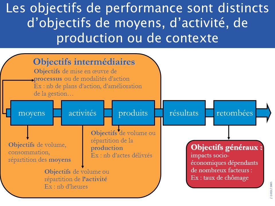 /. DRB/ 2005 Place des objectifs de performance dans la chaîne de production Objectifs généraux : impacts socio- économiques dépendants de nombreux fa