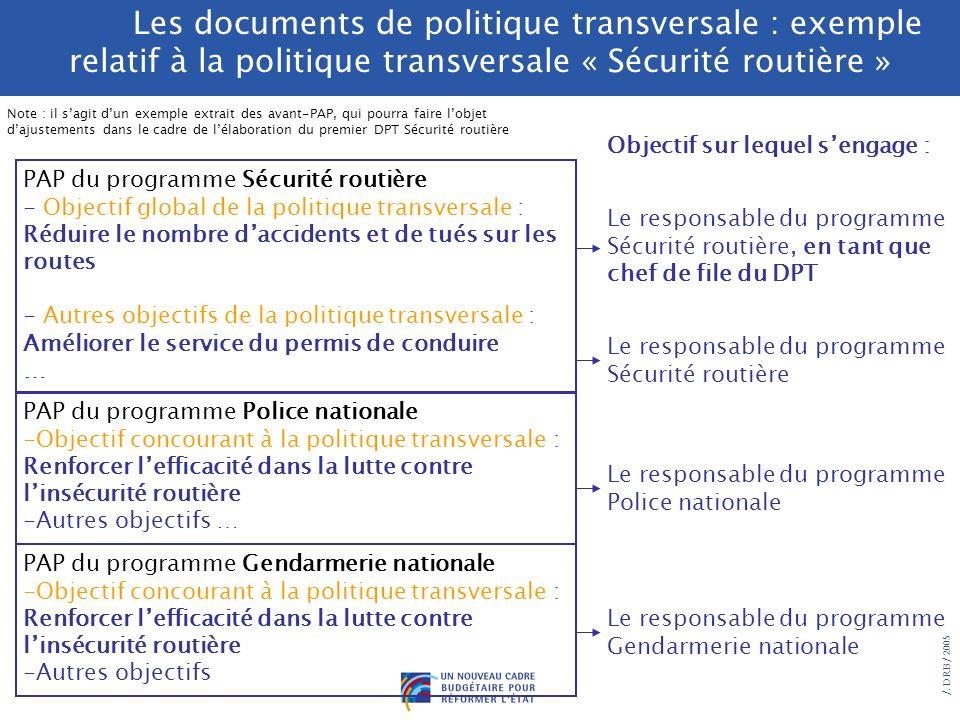 /. DRB/ 2005 Les documents de politique transversale : le pilotage par la performance de politiques interministérielles de lEtat DPT Ensemble des obje