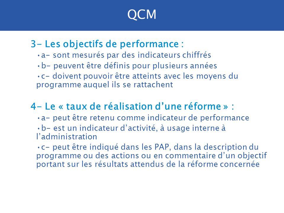 1- Les objectifs de performance : a- doivent porter sur lactivité des services participant au programme b- doivent montrer en quoi les crédits du prog