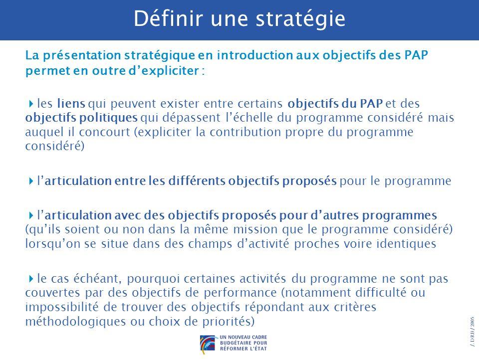 /. DRB/ 2005 Les objectifs de performance sont des priorités choisies dans le cadre dune réflexion stratégique préalable, présentée dans les PAP en in