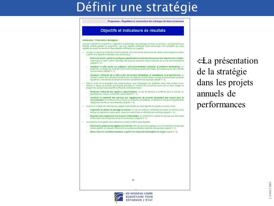 /. DRB/ 2005 La présentation stratégique en introduction aux objectifs des PAP permet en outre dexpliciter : les liens qui peuvent exister entre certa