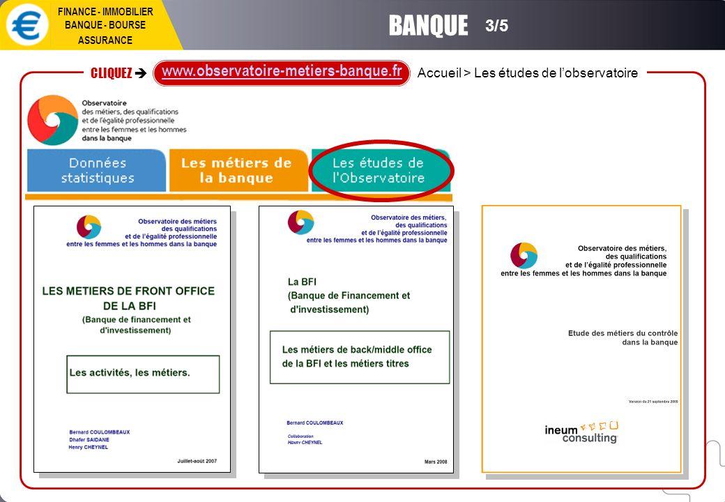 FINANCE - IMMOBILIER BANQUE - BOURSE ASSURANCE BANQUE 3/5 Accueil > Les études de lobservatoire CLIQUEZ www.observatoire-metiers-banque.fr