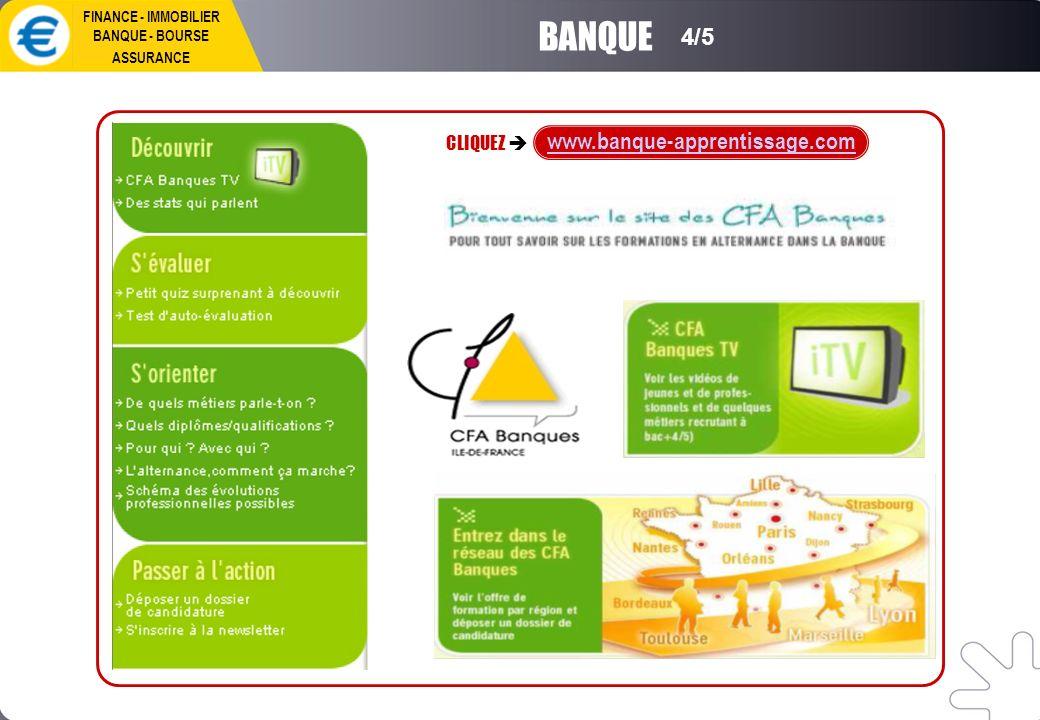 BANQUE CLIQUEZ www.banque-apprentissage.com 4/5 FINANCE - IMMOBILIER BANQUE - BOURSE ASSURANCE