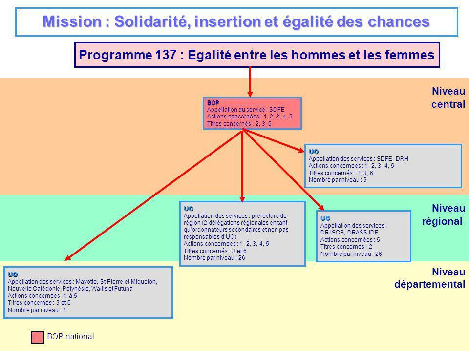 5 Niveau régional Niveau départemental Programme 124 : Conduite et soutien des politiques sanitaires et sociales UO Appellation des services : Ss-directions DAFJS, DRHet IGAS : SDAF (x3 dont opérateurs ARH et ARS), AF-VAE, DRH, SRH1E, SGI, SDSI, SDAJCG, DSS, DGAS, IGAS (x2), CAS (titre 2) Actions concernées : 1, 3 à 7 Titres concernés : 2, 3, 5 Nombre par niveau : 13 et CAS BOP Appellation du service : DRJSCS Actions concernées : 1, 2, 3, 4, 5, 6 Titres concernés : 2, 3, 5 Nombre par niveau : 21 UO Appellation des services : DRJSCS Actions concernées : 1, 2, 3, 4, 5, 6 Titres concernés : 2, 3, 5 Nombre par niveau : 21 UO Appellation des services : DDCS, DDCSP Actions concernées : 1, 2, 3, 4, 5, 6 Titres concernés : 2, 3, 5 Nombre par niveau : 87 BOP Appellation du service : DREES Action concernée : 2 Titres concernés : 3 et 5 UO Appellation des services : DREES+directions Action concernée : 2 Titres concernés : 3 et 5 Nombre par niveau : 8 BOP Appellation du service : DICOM Actions concernées : 1 Titres concernés : 3 UO Appellation des services : DICOM Action concernée : 1 Titres concernés : 3 Nombre par niveau : 1 BOP Appellation du service : DAFJS - DRH Actions concernées : 1, 3 à 7 Titres concernés : 2, 3, 5 BOP Appellation du service : DAEI Actions concernées : 1 Titres concernés : 3 et 6 UO Appellation des services : DAEI, CAS (titre 3) Action concernée : 1 Titres concernés : 3 et 6 Nombre par niveau : 1 et CAS BOP Appellation du service : Défenseur des enfants Action concernée : 3 Titres concernés : 2, 3 Niveau central UO Appellation des services : défenseur des enfants Action concernée : 3 Titres concernés : 2, 3 Nombre par niveau : 1 * dont Mayotte, St Pierre et Miquelon, Nouvelle Calédonie et Polynésie française et Wallis et Futuna Mission : Solidarité, insertion et égalité des chances BOP ARS Appellation du service : DAFJS Actions concernées : 1,3 à 7 Titres concernés : 3 5 et 6 UO Appellation des services : SDSI,SGI, DRH, DICOM, SDAF Action concernée : 1,