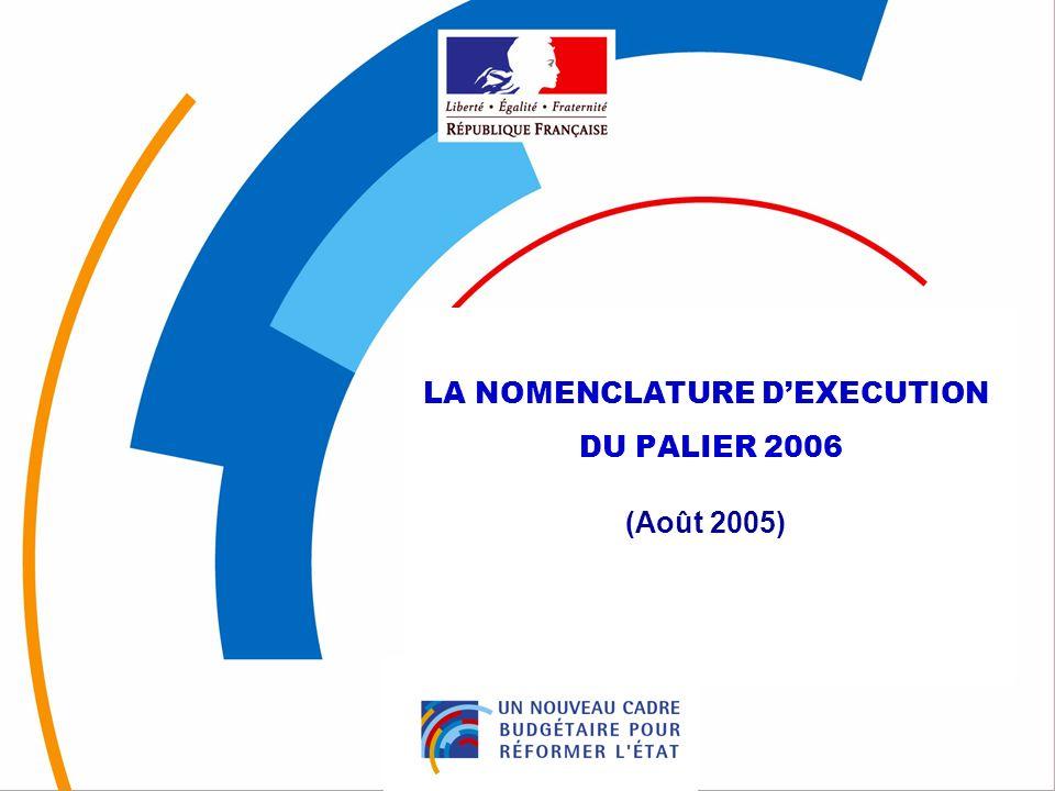 1 LA NOMENCLATURE DEXECUTION DU PALIER 2006 (Août 2005)