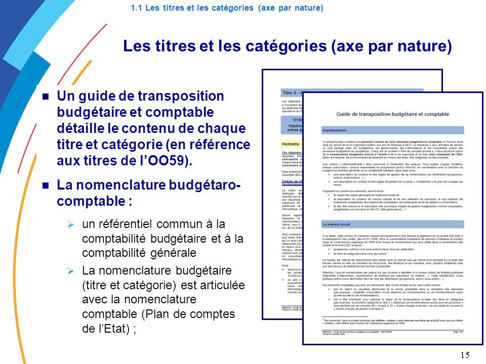15 Les titres et les catégories (axe par nature) Un guide de transposition budgétaire et comptable détaille le contenu de chaque titre et catégorie (e