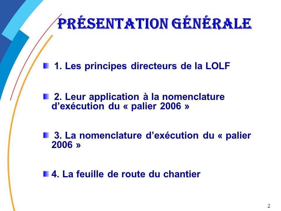 2 Présentation générale 1. Les principes directeurs de la LOLF 2. Leur application à la nomenclature dexécution du « palier 2006 » 3. La nomenclature