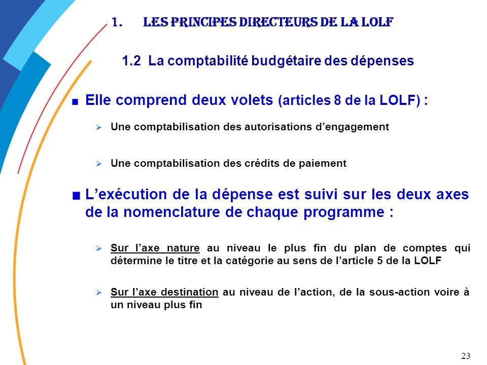 23 1.Les principes directeurs de la LOLF 1.2 La comptabilité budgétaire des dépenses Elle comprend deux volets (articles 8 de la LOLF) : Une comptabil