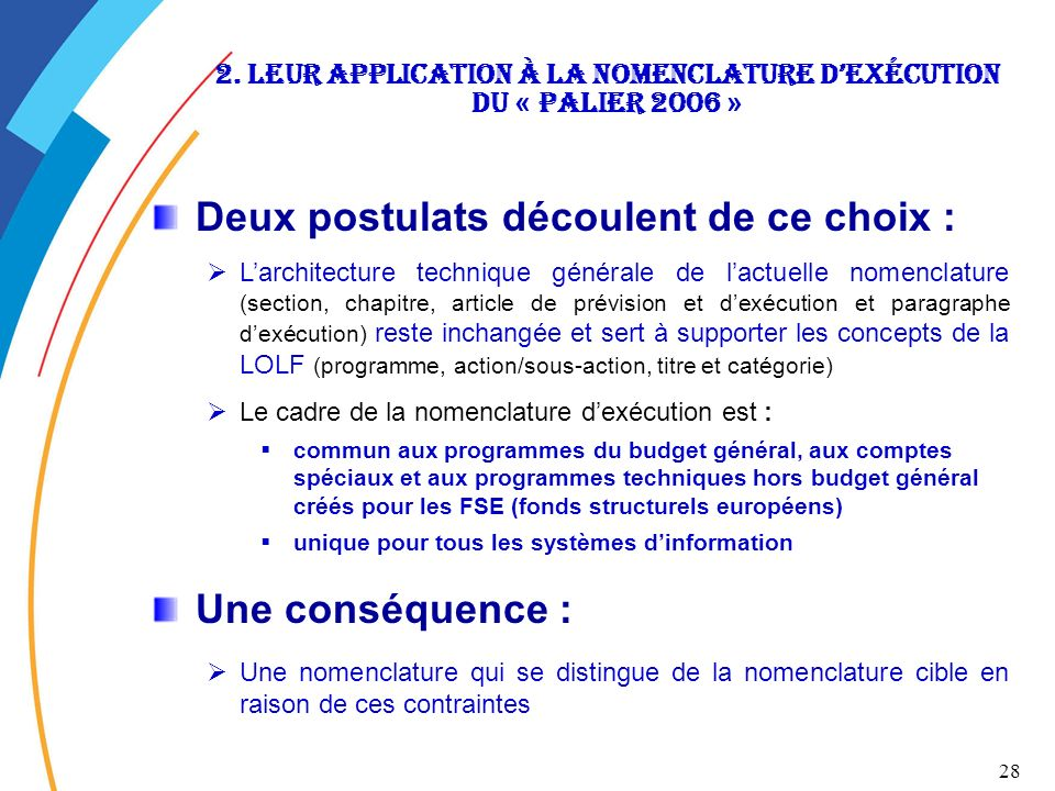 28 2. Leur application à la nomenclature dexécution du « Palier 2006 » Deux postulats découlent de ce choix : Larchitecture technique générale de lact