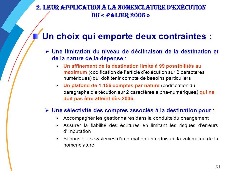 31 2. leur application à la nomenclature dexécution du « Palier 2006 » Un choix qui emporte deux contraintes : Une limitation du niveau de déclinaison