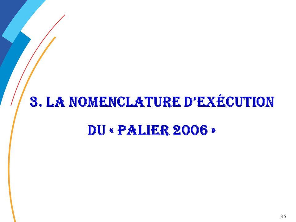 35 3. La nomenclature dexécution du « palier 2006 »